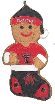 Texas Tech Red Raiders NCAA College Gingerbread Man in Stocking Christmas Ornament