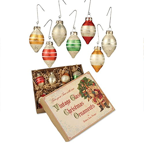 Bethany Lowe Vintage Teardrop Ornaments, Box Set of 8