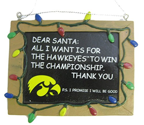 Iowa Hawkeyes NCAA College Chalkboard Holiday Christmas Ornament