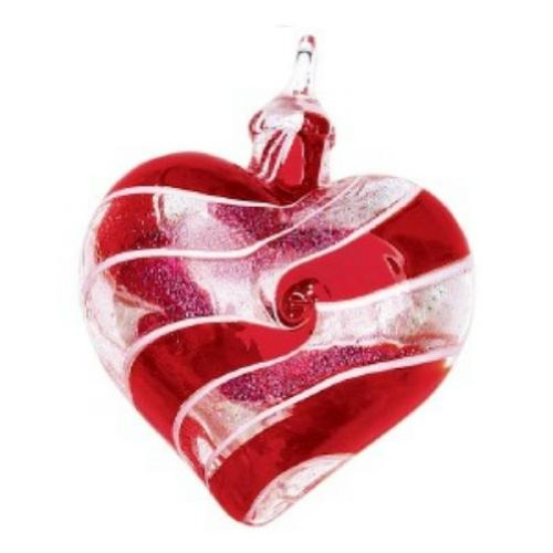 Glass Eye Studio Designer Red Spin Heart Ornament