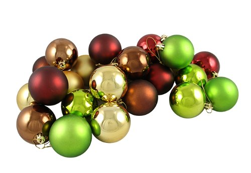 Vickerman 4-Finish Ornament, 60mm, Burgundy/Mocha/Lime/Gold
