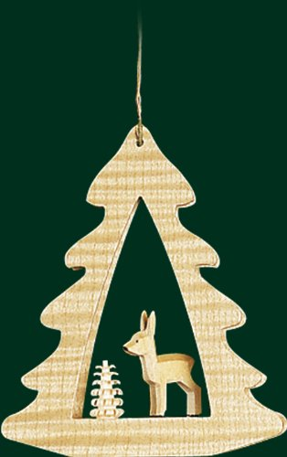 Hanging Christmas Tree Shaped Ornament Deer, 3.4 Inches
