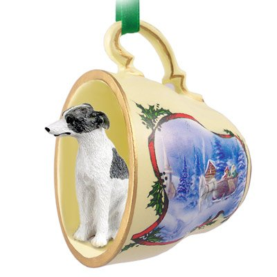 Whippet Gray & White Tea Cup Sleigh Ride Holiday Ornament