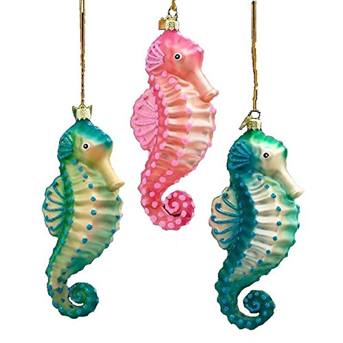 Kurt Adler Noble Gems 3 Assorted Glass Seahorse Ornaments