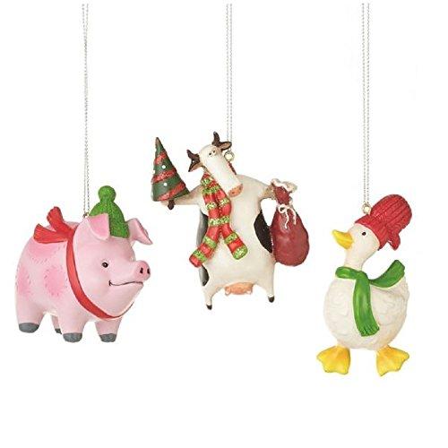 Christmas Farm Animals Ornament Set of 3