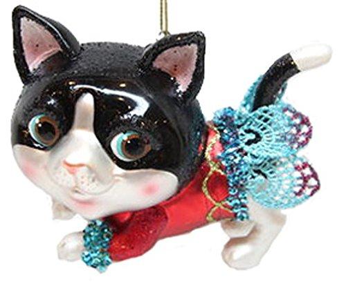 December Diamonds Blown Glass Ornament Cat in Red Skirt