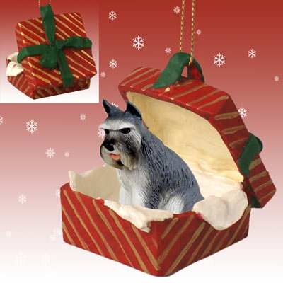 SCHNAUZER Dog Gray sits in a Red Gift Box Christmas Ornament New RGBD13B