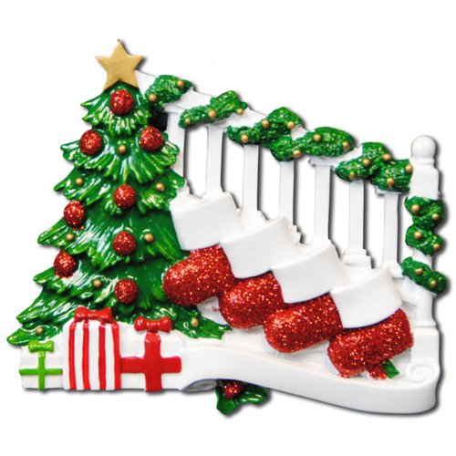 2400 Bannister with 4 Stockings Hand Personalized Christmas Ornament