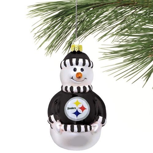 NFL Pittsburgh Steelers Blown Glass Snowman Christmas Ornament