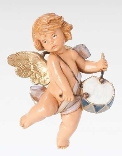 Pack of 2 Fontanini 5″ Cherub with Drum Annual Christmas Ornaments for Personalization