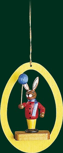 Hanging Christmas Tree Ornament Bunny with Balloon, 3.4 Inches