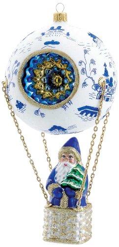 David Strand Kurt Adler Glass High Rise Blue Canton Ornament, 8.7-Inch
