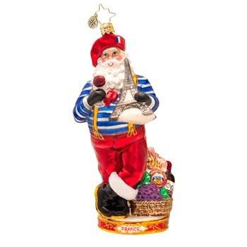 Christopher Radko Glass Oh La La French Santa Christmas Ornament #1017421