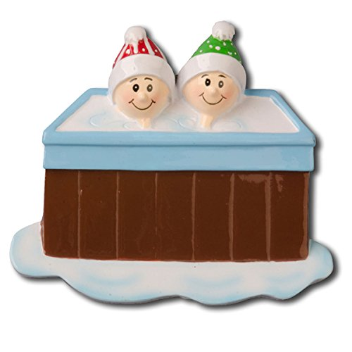 Personalizable Christmas Ornament Hot Tub Family of 2