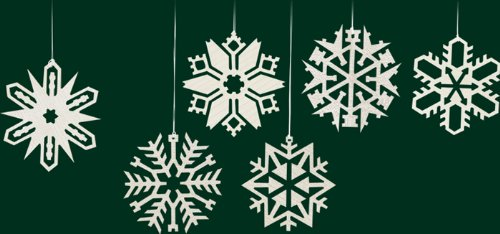 Hanging Christmas Tree Ornaments Snow Crystals, 6 Pieces