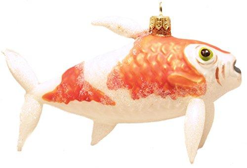 Christinas World Orange and White Koi Fish Polish Glass Christmas Ornament