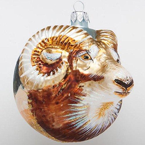 Christinas World Mountain Ram Figural Polish Blown Glass Christmas Ornament