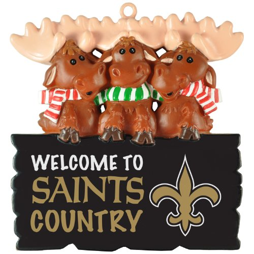 "NFL New Orleans Saints ""Welcome to Saints Country"" Hanging Moose Ornament (Appx 3.5″)"
