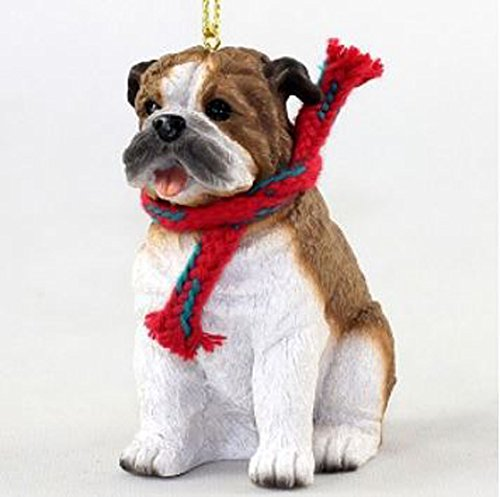 Bulldog with Scarf Christmas Ornament (Large 3 inch version) Dog