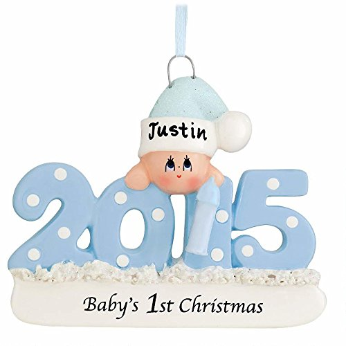 Baby's First Christmas Ornament 2015 – Blue/Boy – FREE Personalization