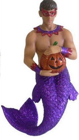 December Diamonds Jack O'Lantern Merman Halloween Ornament is a Hand Painted Limited Discontinued Collector's Item.Beautiful Pecs & Sculpted Arms.Hot Young Masked Man Wants YOU!