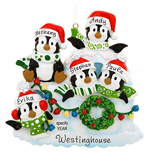 Personalized Igloo With 5 Penguins Ornament