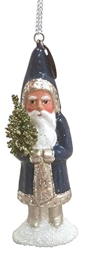 Ino Schaller Electric Blue Santa German Paper Mache Christmas Ornament
