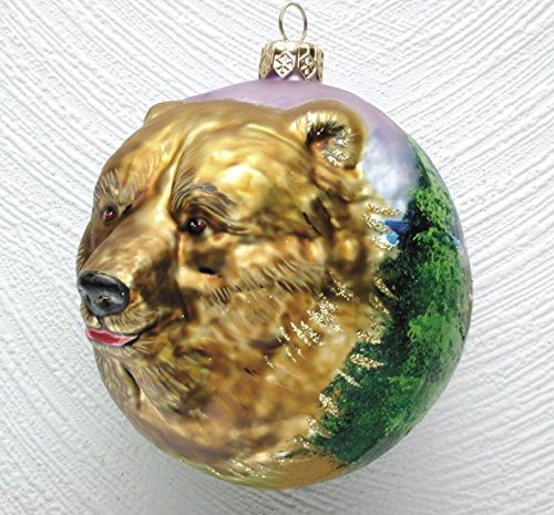 Christinas World Grizzly Bear Figural Polish Blown Glass Christmas Ornament
