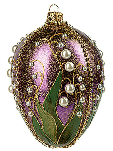Faberge Inspired Purple Lilies of the Valley Egg Polish Glass Christmas or Easter Ornament