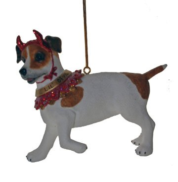 December Diamonds Lil Devil Jack Russell Terrier Ornament- Handpainted Discontinued Limited Edition with Rhinestone Accents