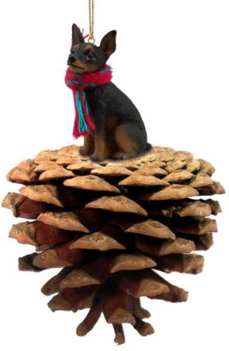 Black and Tan Min Pin Miniature Pinscher Real Pinecone Dog Christmas Ornament
