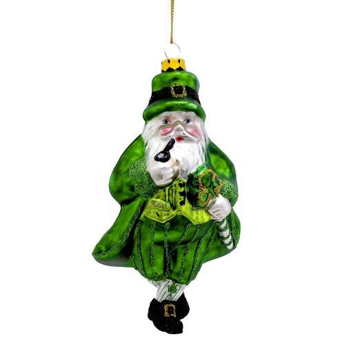 Kurt Adler 5.5″ Glass Irish Santa Ornament