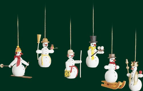 Hanging Christmas Tree Ornament Snowmem, 6 Pieces, 2.4 Inches