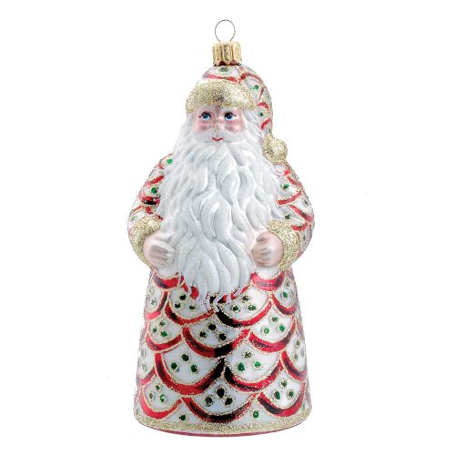 David Strand Kurt Adler Glass Regency Santa Ornament, 6.3-Inch