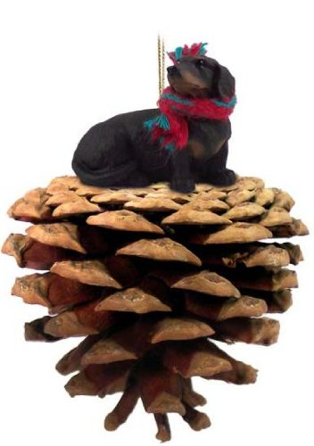 Dachshund Black Dog Pinecone Ornament