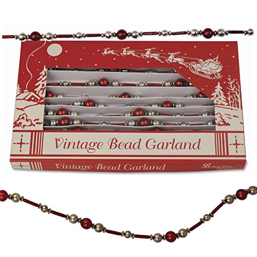 Bethany Lowe 9′ Strand Christmas Red Bugle Bead Tree Garland
