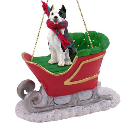 Pit Bull Terrier Brindle Sleigh Ride Ornament