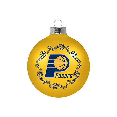 """Indiana Pacers NBA 2 5/8"""" Painted Round Candy Cane Christmas Tree Ornament-Yellow"""