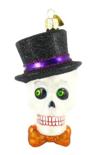 Old World Christmas Glass Ornament – Top Hat Skeleton