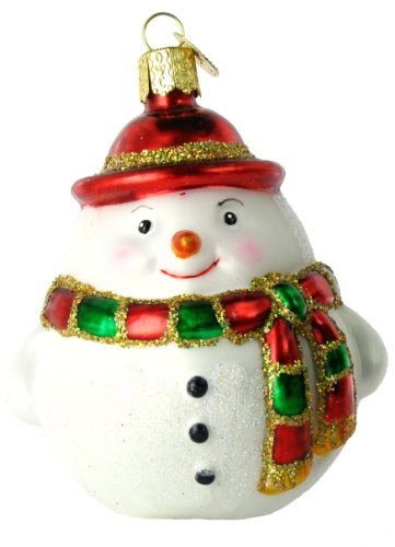 Old World Christmas Round Snowman, 4″ Glass Ornament