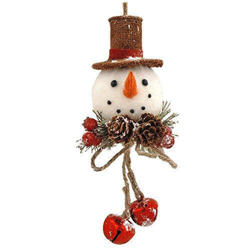 Blossom Bucket Snowman with Pinecone Ornament Christmas Decor, 4 by 7-3/4″