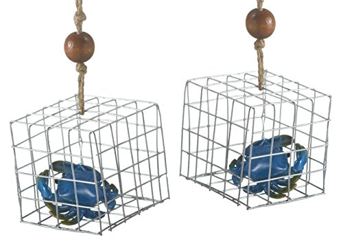 Blue Crab in Fishing Trap Christmas Holiday Ornaments Set of 2 Midwest CBK