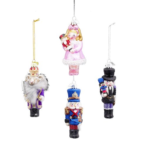 Kurt Adler 4-1/4-Inch Noble Gems Glass Nutcracker Suite Ornaments, Set of 4