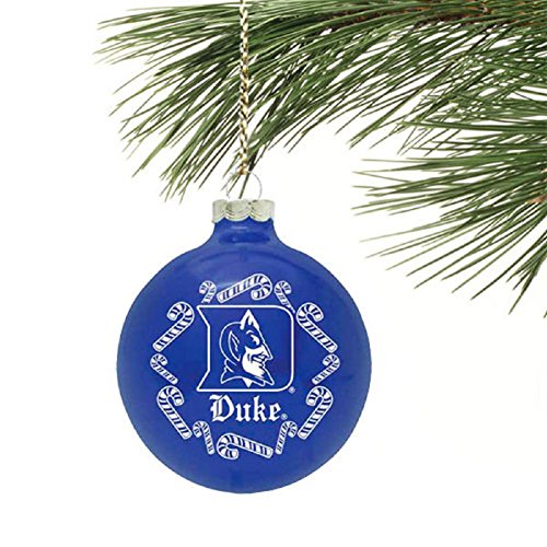 NCAA Candy Cane Traditional Glass Ball Christmas Ornament- 2 5/8″-Duke Blue Devils