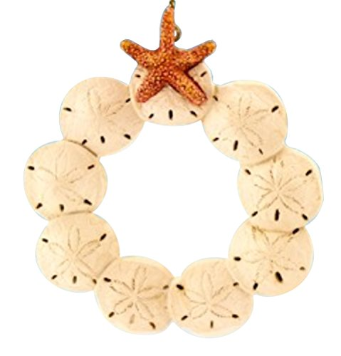 Resin Sand Dollar Wreath Christmas Ornament with Starfish Top