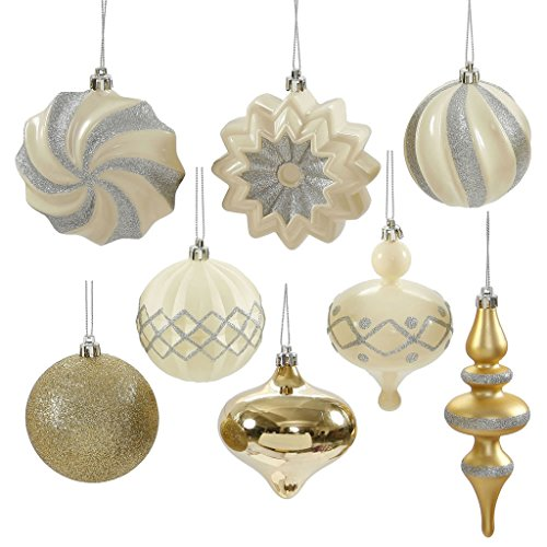 Vickerman 34757 – 3″ – 6″ White / Champagne Assorted Christmas Tree Ornament Set (18 pack) (N149875)