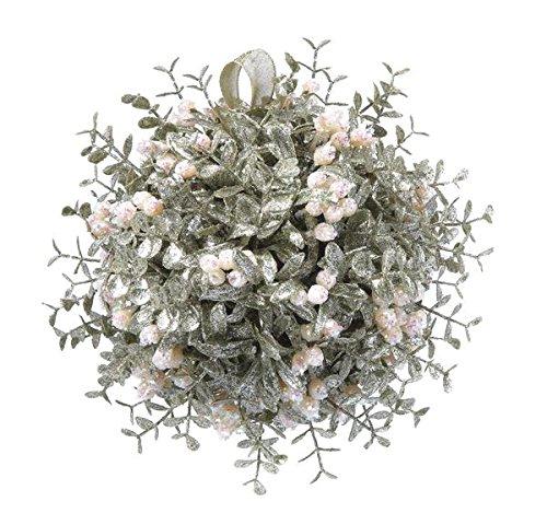 GANZ 10″ Kyrstal Kiss Ball Ornament, White, Décor Mistletoe – Wedding Acrylic Kissing Crystal-like KK105