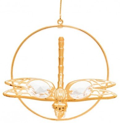 Dragonfly Holiday Ornament Crystal and Gold Plated – Gift Boxed
