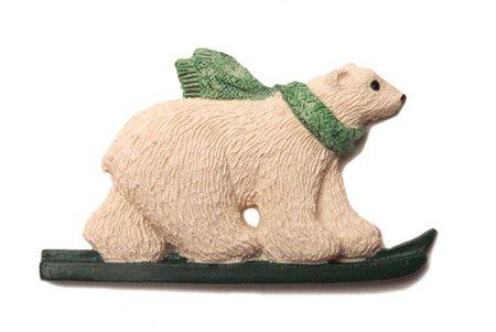 SET OF 6 Alaskan Polar Bear Skier Christmas Ornaments Green Scarf