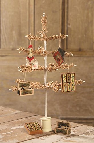Bethany Lowe 16″ Tea Stained Paper Tree and Olde Toys Ornaments